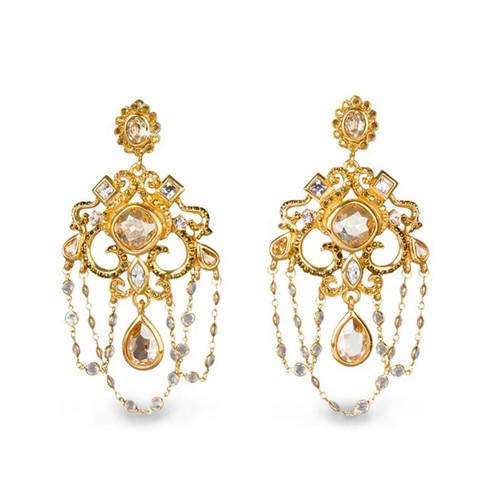 Jay Strongwater Golden Chandelier Clip Earrings