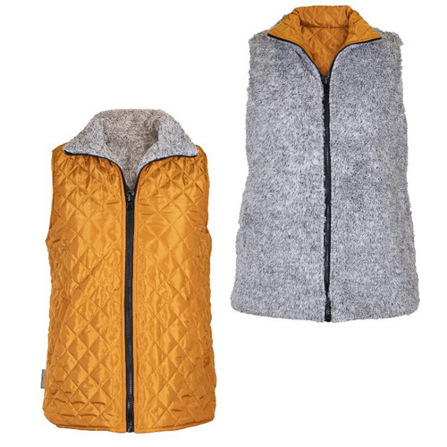 Large Mustard Reversible Vest by Simply Southern