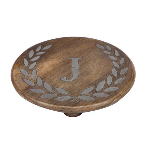 "Heritage Mango Wood with Metal Inlay Monogram 10""  Trivet - J - GG Collection"