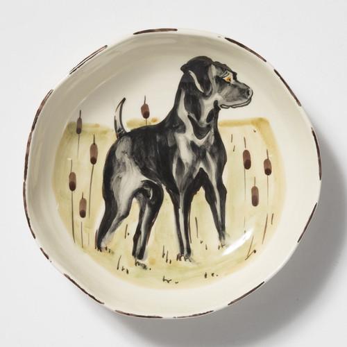 Vietri Wildlife Black Hunting Dog Pasta Bowl - Special Order
