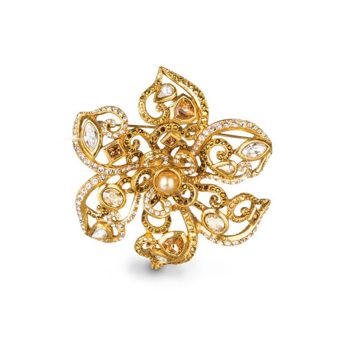 Jay Strongwater Golden Large Flower Scroll Pin