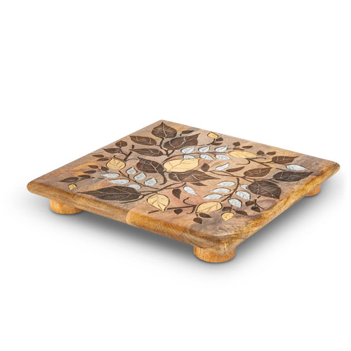 """Laser Leaf Mango Wood with Metal Inlay 10"""" Trivet by GG Collection"""