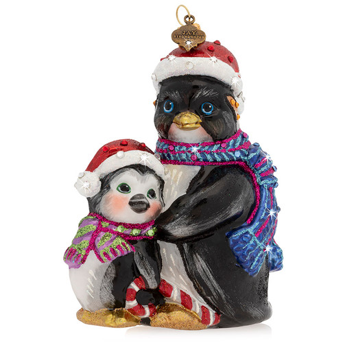 Jay Strongwater Father and Child Penguin Glass Ornament - Special Order