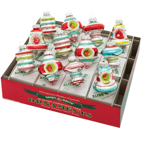 """Festive Fete 1.75"""" Decorated Shapes  (Set of 12) by Christopher Radko  - Special Order"""