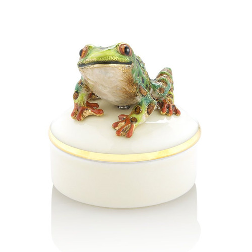 Jay Strongwater Mac Frog Round Porcelain Box - Special Order