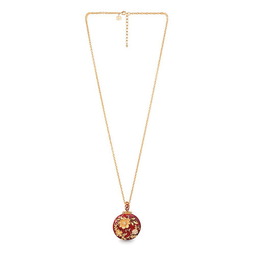 Jay Strongwater Siam Floral Leaf Round Pendant