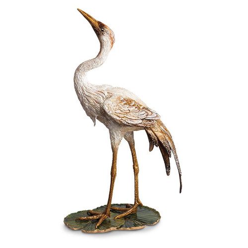 Jay Strongwater Nelson Crane on Lily Pad Figurine - Special Order