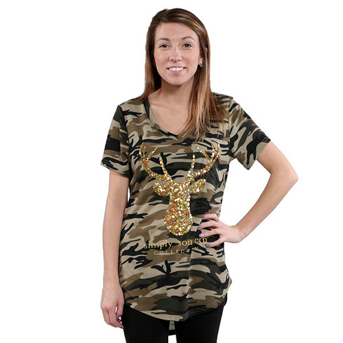 Large Deer Camo Sequin Top by Simply Southern