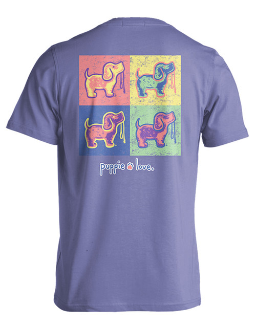 Small Violet Pop Art Pup Short Sleeve Tee by Puppie Love