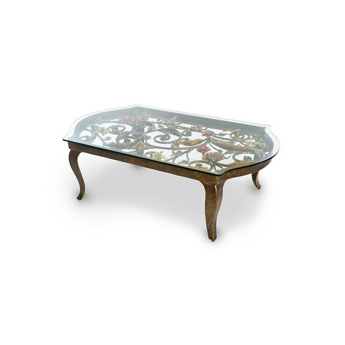 Jay Strongwater Everett Floral & Scroll Coffee Table - Special Order