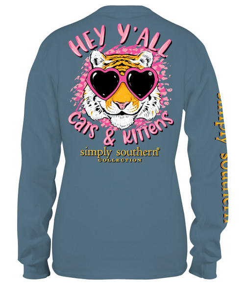 Medium Cats & Kittens Stone Long Sleeve Tee by Simply Southern