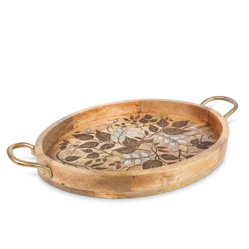 """Laser Leaf Mango Wood with Metal Inlay 25"""" Oval Tray with Gold-tone Handles by GG Collection"""