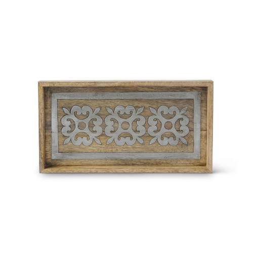 Wood and Metal Inlay Bath Tray - GG Collection