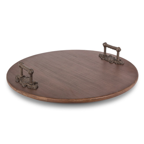 Wood Lazy Susan with Metal Leaf Handles - GG-Collection