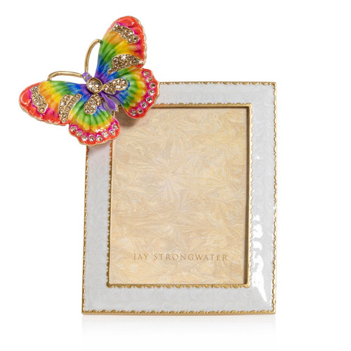 """Jay Strongwater Nova Butterfly Rainbow 3"""" x 4"""" Frame - Special Order"""