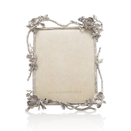 """Jay Strongwater Dacia Floral Branch 8"""" x 10"""" Frame - Silver - Special Order"""
