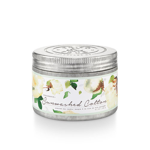 Sunwashed Cotton 4.1 oz. Small Tin Candle by Tried & True