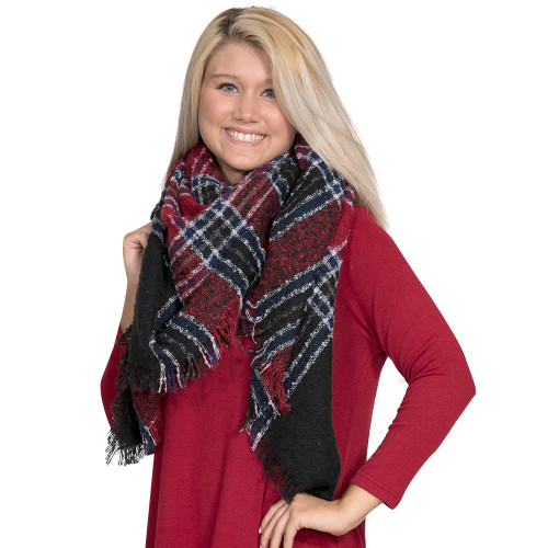 Navy & Red Blanket Scarf by Simply Southern