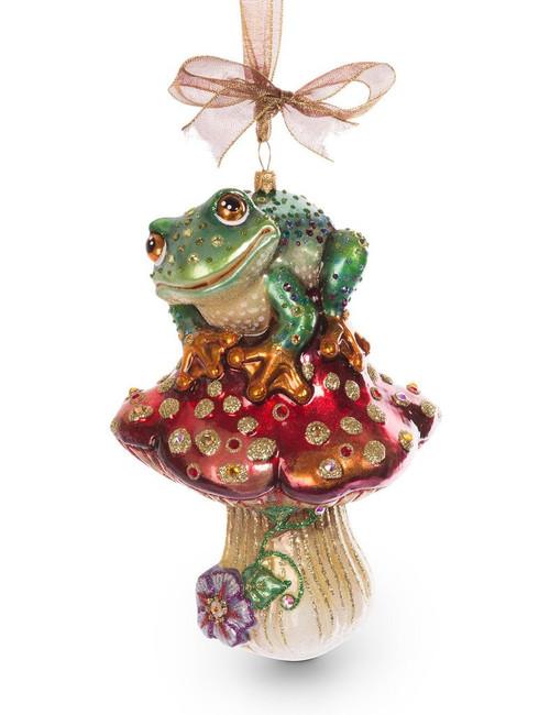 Jay Strongwater Frog on Mushroom Glass Ornament - Jewel