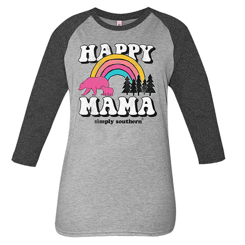Small Vintage Dark Heather Gray Happy Mama Long Sleeve Tee by Simply Southern