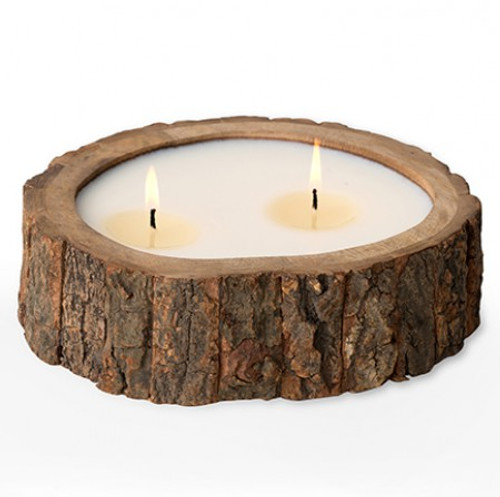 Tobacco Bark 26 oz. Irregular Tree Bark Pot Candle by Himalayan Candles