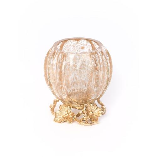 Jay Strongwater Rhett Leaf & Flower Gilded Votive - Special Order