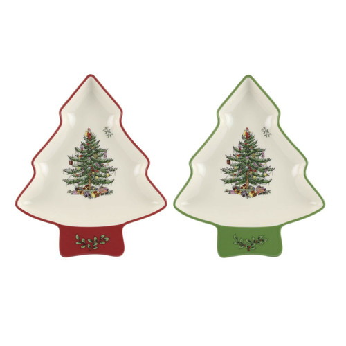Christmas Tree Set of 2 Tree-Shaped Dishes by Spode - Special Order
