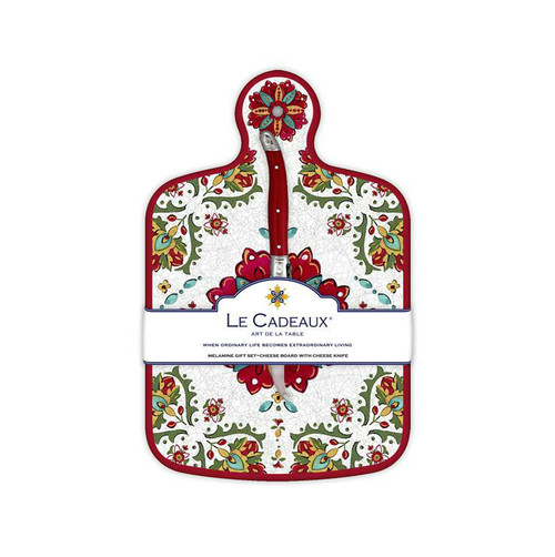 Allegra Red Cheese Board With Knife by Le Cadeaux