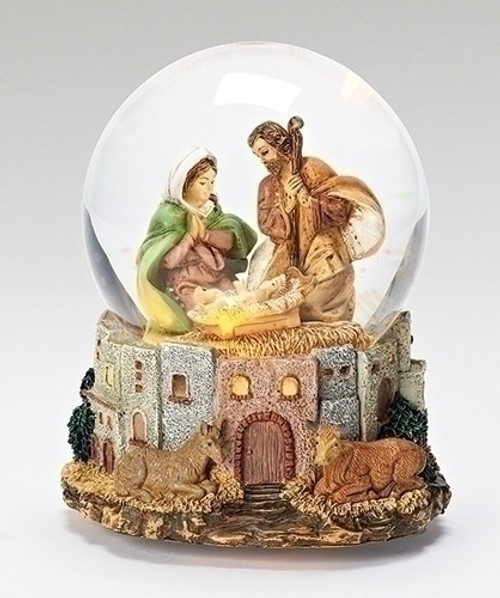 """7"""" Musical LED Holy Family Glitterdome - Fontanini - Special Order"""