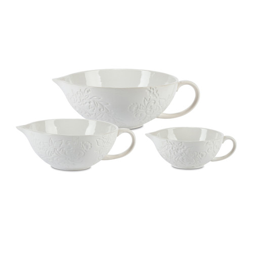 Etched Floral White Stoneware 3-Piece Batter Bowls - GG Collecti