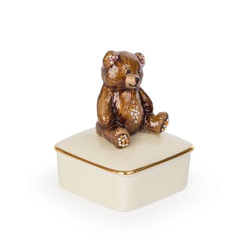 Jay Strongwater Roman Teddy Bear Porcelain Box - Special Order