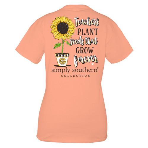 Small Peachy Teacher Short Sleeve Tee by Simply Southern