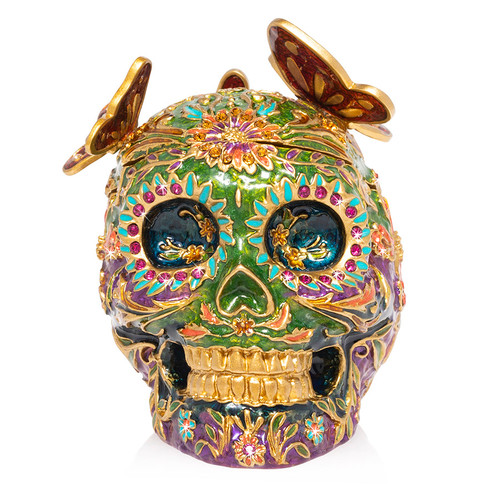 Jay Strongwater Rivera Skull with Butterflies Box - Special Order