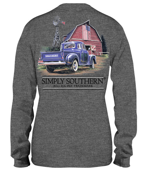 Large Truck Dark Heather Gray Unisex Long Sleeve Tee by Simply Southern