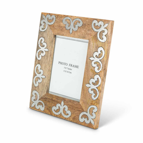 """Heritage Mango Wood with Metal Inlay 5""""x7"""" Frame by GG Collection"""