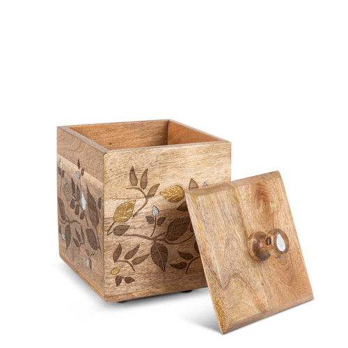 Mango Wood with Laser and Metal Inlay Leaf Design Medium Canister - GG Collection