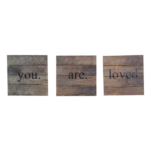 """You Are Loved 6"""" x 6"""" 3 pc Wall Art - Dark - Second Nature By Hand"""