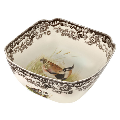 Woodland Quail/Lapwing Square Bowl by Spode - Special Order
