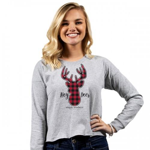 Medium Hey Deer Heather Gray Shortie Long Sleeve Tee by Simply Southern