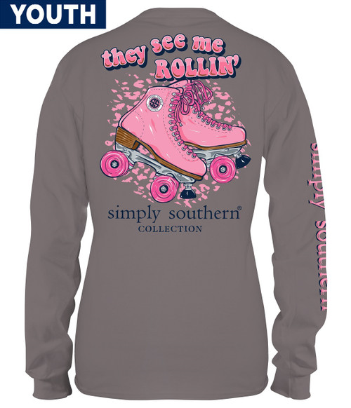 Medium See Me Rollin' Steel YOUTH Long Sleeve Tee by Simply Southern