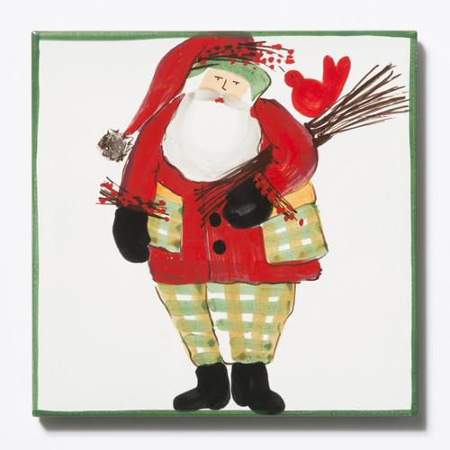 Vietri Old St. Nick Trivet - Green Border with Wood Pile - Special Order