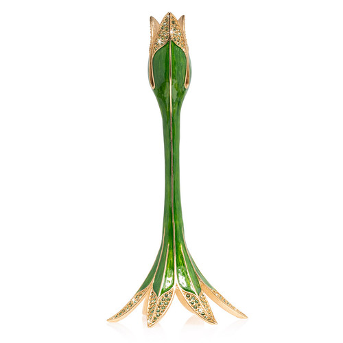 Jay Strongwater Abraham Tulip Medium Candle Stick Holder in Leaf - Special Order