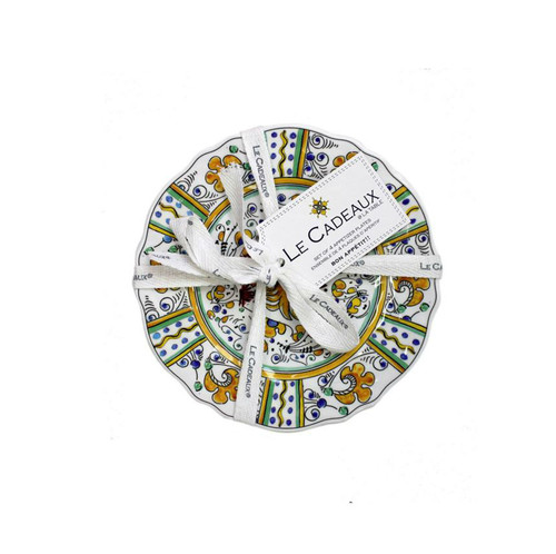 Rooster Blue & Rooster Yellow Appetizer Plates (Set of 4) by Le Cadeaux
