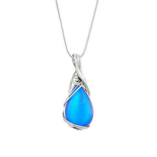 Frosted Blue Wire Wrap Pendant by LeightWorks Wearable Fine Art