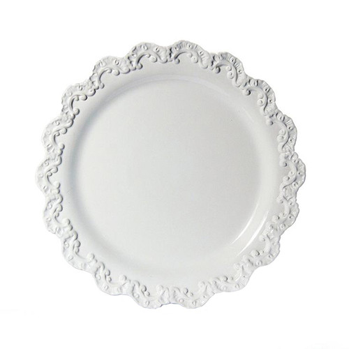 """(A) Baroque White Charger Plate 13.75""""D - Set of 4 - Intrada Italy - Special Order"""