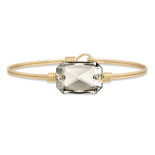 Regular Dylan in Silver Shade Brass Tone Bangle Bracelet by Luca and Danni