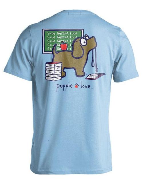 Small Light Blue Teacher's Pup Short Sleeve Teeby Puppie Love