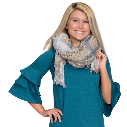 Grey & Tan Blanket Scarf by Simply Southern