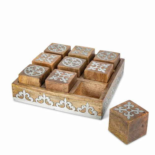 Heritage Mango Wood with Metal Inlay Tic Tac Toe Game by GG Collection