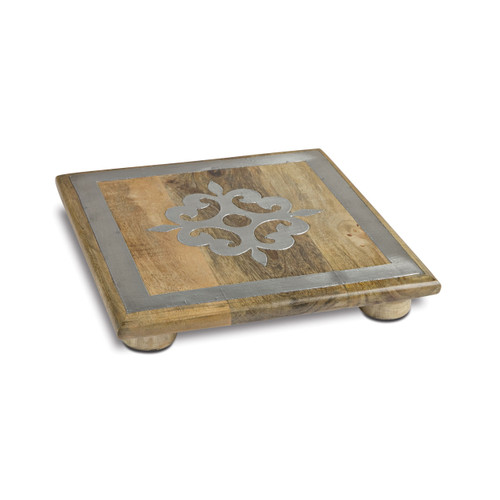 """10"""" Wood Trivet w/ Metal Inlay - GG Collection"""